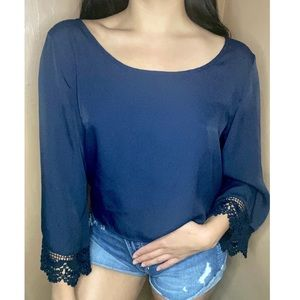 Hollister long sleeve blouse embroidered sleeves